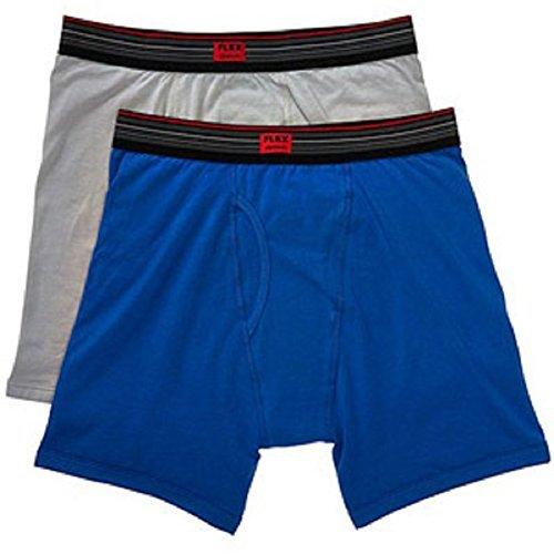 Life by Jockey Mens Flex Cotton Blend Boxer Briefs (2 Pack) (Medium (32-34 Inch Waist), Blue