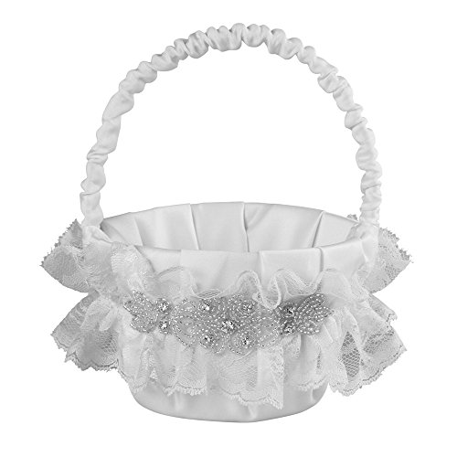 Cecilia Wedding Collection Flower Girl Basket, White ()