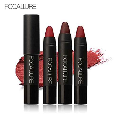 New Lipstick! Elevin(TM) 3PCS Fashion Women Ladies FOCALLURE Waterproof Long-lasting Red Velvet Matte Color Pencil Lipstick Crayon Makeup Set - Lip Colour Loreal Infallible 1 Kit