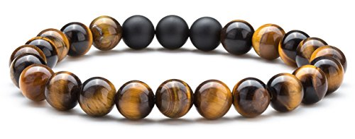 - Hamoery Men Women 8mm Tiger Eye Stone Beads Bracelet Elastic Natural Stone Yoga Bracelet Bangle (Tiger Eye Matte)