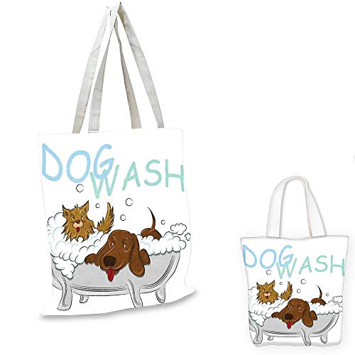 """Nursery royal shopping bag Playful Dogs in a Bathtub Grooming Each Other Cute Pets Theme Illustration foldable shopping bag White Brown Blue. 12""""x15""""-10"""" from BlountDecor"""