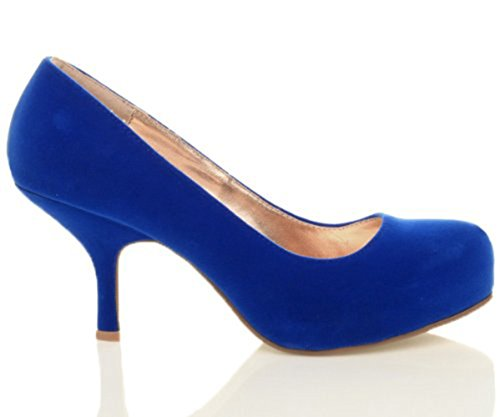 CORE COLLECTION New Womens Ladies MID Heel Casual Smart Work Office Pump Court Shoes Size 3-8 Electric Blue Suede ct9rMT