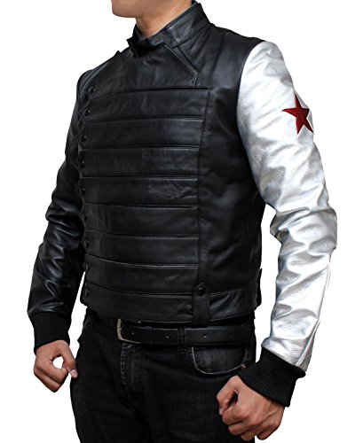 [Bucky Barnes The Winter Soldier Jacket Costume (M, Black)] (Captain America First Avenger Halloween Costume)
