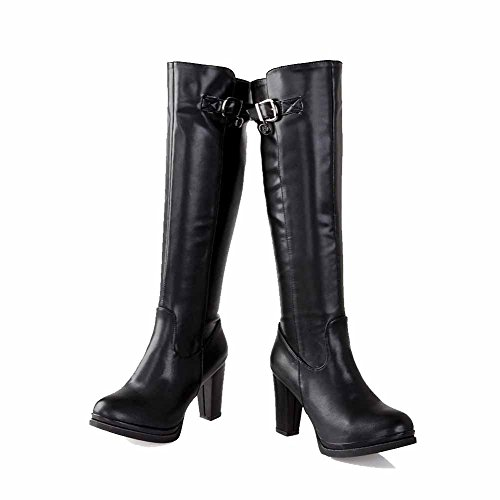 Allhqfashion Mujeres Round Closed Toe High Top Botas Altas Pu De Tacón Alto Negro