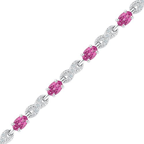(Sterling Silver Oval Lab-Created Pink Sapphire Fashion Bracelet 5-0.23 Cttw)