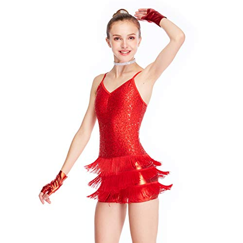 MiDee Dance Costume Biketard Camisole Sequins Top with Fringes Skirt 4 Colors (SA, Red)