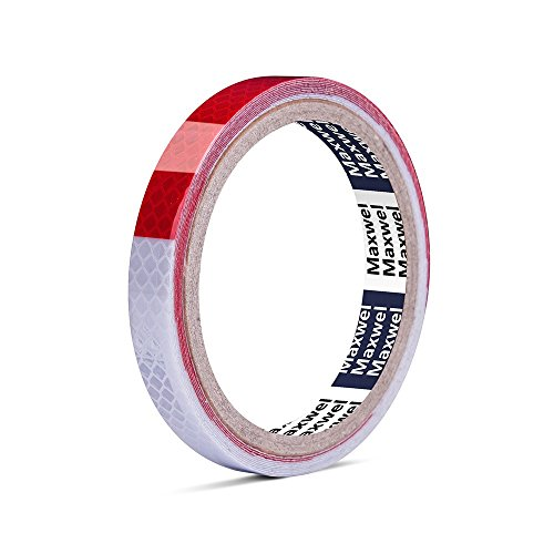Reflective Tape Red White Rainproof - 1/210 Heat Resistant Waterproof High Visibility Safety Reflective Warning Tape for Outdoor Night Running,Safety Caution,Warning (Pack of 1 Piece)