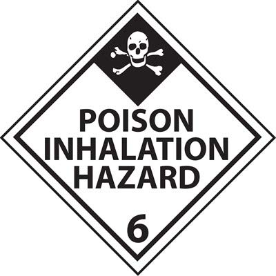 DOT Hazardous Vehicle Placard, Poison Inhalation Hazard 6, Self-Adhesive Vinyl (3 Pack)