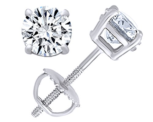 Round Natural Diamond Stud (IGI Certified 0.70 ct & up) Plus Quality Screw Back Earrings in 14k Solid White Gold, 0.04 Ctw - 2.00 Ctw
