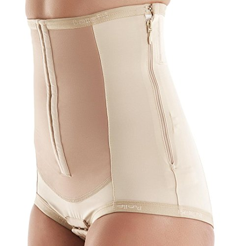 (Bellefit Dual-Closure Corset with Hooks & Side Zipper, Medical-Grade, C-Section Beige)