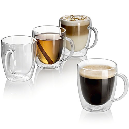 ng Double Walled Insulated drinking glasses with handle, 10 oz Glass Coffee Cups Dishwasher. Microwave, freezer with NO RISK. (4) (Forever Yours Mug)