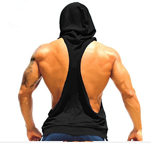 Cut Hoody - Q&Y Men's Muscle Cut Bodybuilding Stringer Hoodie Gym Tank Top Racerback Hoodie Tee Black M