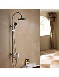 BL Modern Retro Contemporary Rain Shower Chrome Finish Brass Three Holes Single Handle Shower Faucet Set Shower Faucet Chrome Plated Solid Brass