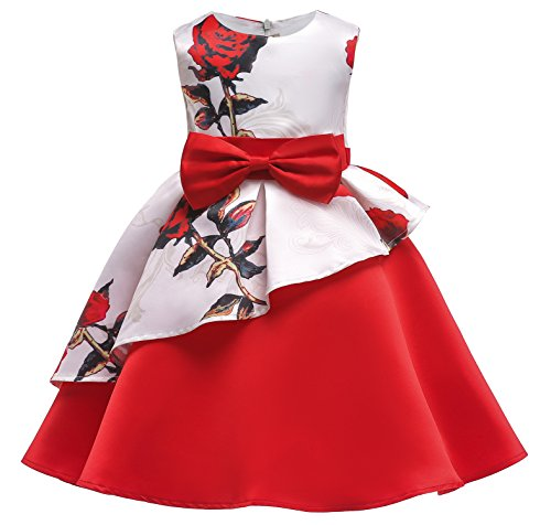 Princess Girls Floral Printting Formal Birthday Party Dresses 2018 Christmas Day Size 9T(Red,150) -