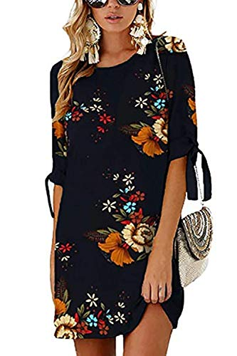 DDSOL Womens Casual Shift Dress Summer Chiffon Floral Printed Loose Plus Size Crew Neck Short Sleeves Straight Dark Blue