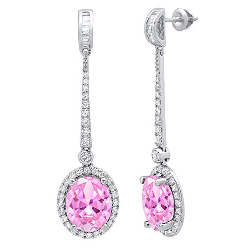 (Dazzlingrock Collection 10K Each 11X9 MM Oval Lab Created Pink Sapphire And Round & Baguette Diamond Ladies Dangling Earrings, White Gold)