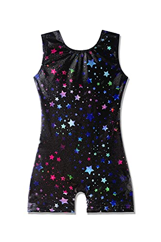 biketards for girls gymnastics black 5t size 5-6 years old 5-6x stars starry night sky leotards with shorts for kids colorful multicolored