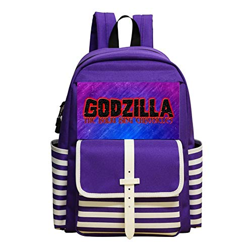 Afx Computer - God-zilla King of the Mons-ters 2019 Backpack Nautical Striped School Bookbags Rucksack Satchel for Teens Girls
