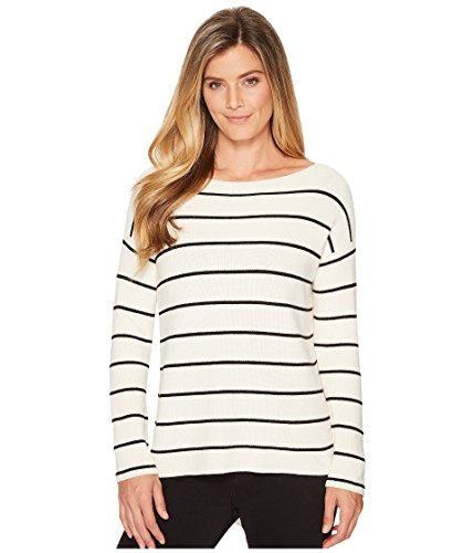 Two by Vince Camuto Women's Striped Asymmetrical Rib Sweater Antique White - Striped Sweater Asymmetrical