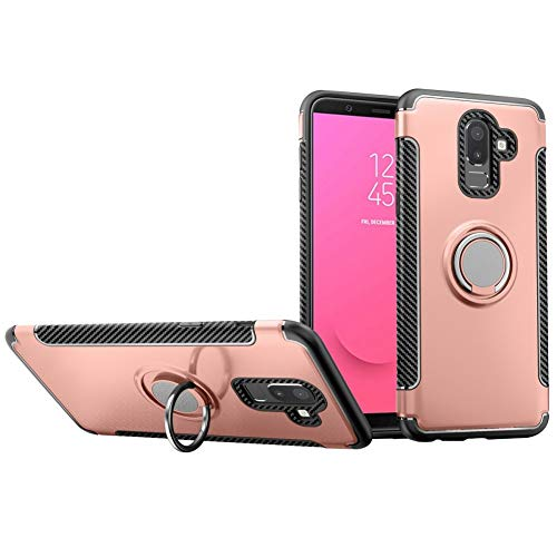 DWAYBOX Galaxy J8 2018 Case Hybrid Back Case Cover with 360 Degree Rotation Ring Holder for Samsung Galaxy J8 2018 6.0 Inch Compatible with Magnetic Car Mount Holder (Rose Gold)