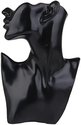 WellieSTR Black Resin Mannequin Head Bust Stand Model Shop Jewelry Display Necklace Earring Holder,Necklace Jewelry Display Bust 7.5 x 11 x 2 inches