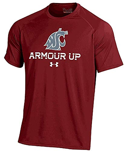 Under Armour Tech Sleeveless Tee - Washington State Cougars Crimson Poly Dry Armour Up HeatGear NuTech Short Sleeve Shirt (L=44)
