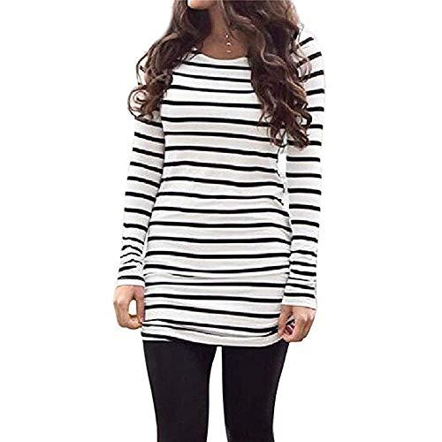Sherosa Womens Basic Casual Long Sleeve Slim Fit T Shirt Dress Tunic Top (M, Black and White) (Maternity White Dress Shirt)