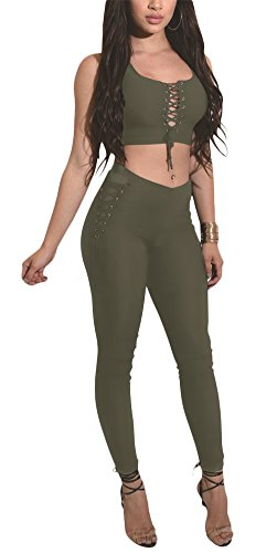 Sexy Military Outfit (Aro Lora Women's Sexy 2 Piece Set Lace up Party Crop Top And Long Pant Outfit Large Army Green)