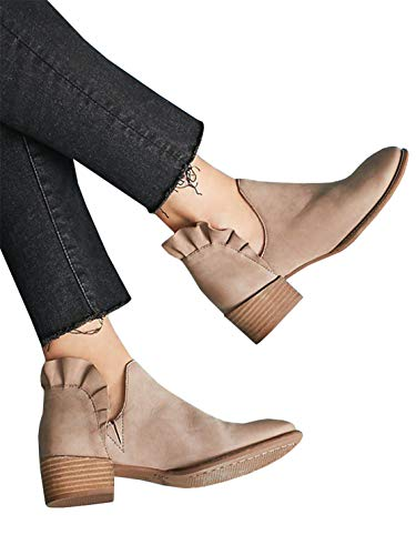 Womens Ruffle Bootie - Syktkmx Womens Cut Out Ruffles Booties Ankle Heels Slip on Closed Toe Chunky Boots