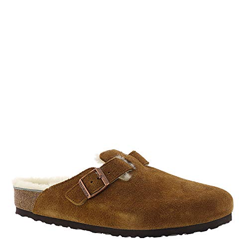 - Birkenstock Womens Boston Shearling Clog, Mink/Natural Suede, 38 N EU