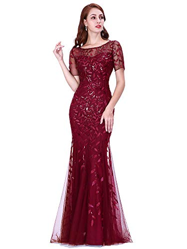 Women's Long Gowns Prom Evening Bridesmaid Dress Mermaid Dress Burgundy US18 (Long Ladies Gowns)