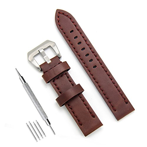 MEGALITH Genuine Leather Watch Band 20mm 22mm 24mm Leather Watch Strap Top Calf Grain Watch Bands for Men ()
