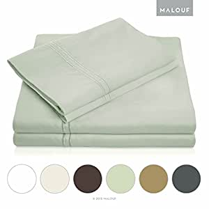 MALOUF 600 Thread Count Genuine Egyptian Cotton Single Ply Bed Sheet Set - King - Silver Sage