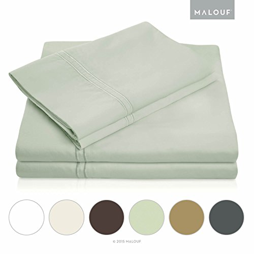 MALOUF 600 Thread Count Genuine Egyptian Cotton Single Ply Bed Sheet Set - Cal King - Silver (King Single)