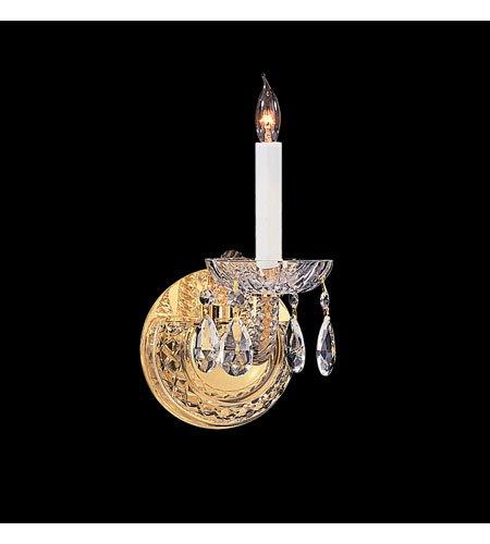 Bohemian Crystal 1 Light Candle Wall Sconce Finish: Polished Brass, Crystal Type: Majestic Wood Polished ()