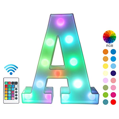 Colorful LED Marquee Letter Lights with Remote - Color Changing Light Up Alphabet Signs - Party Bar Letters with Lights Decorations for The Home - ...