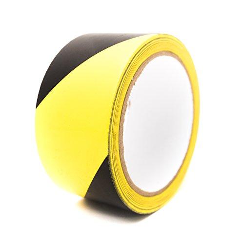 Bertech BERST-2BY Black/Yellow Safety Warning Vinyl Tape, 18 yd Long, 2