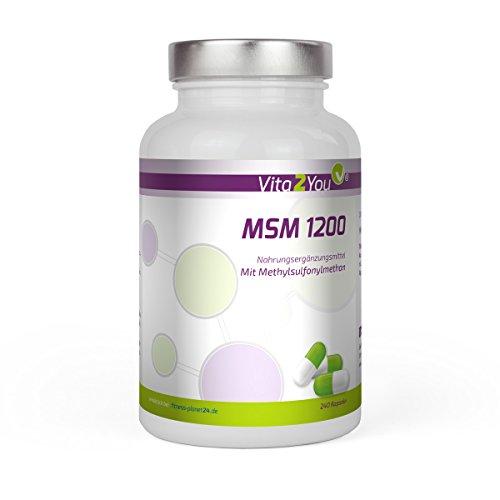 MSM 1200 - 240 Kapseln - (Methylsulfonylmethan) - Hochdosiert - Premium Qualität - Made in Germany