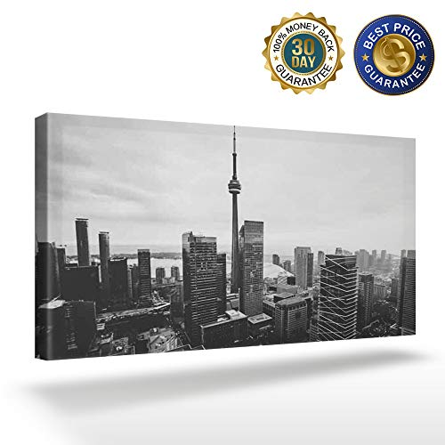 Canvas Wall Art - Black and White,Toronto City Buildings Landscape - Modern Wall Decor Gallery Canvas Wraps Giclee Print Stretched and Framed Ready to Hang 16