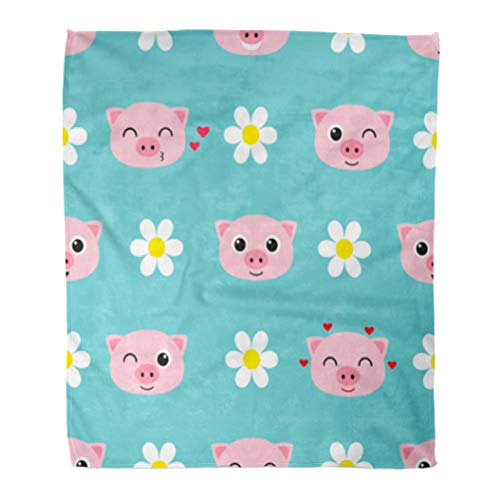 Golee Throw Blanket Blue Animal Cute Cartoon Piglets Pink Anime Baby Boy Character 50x60 Inches Warm Fuzzy Soft Blanket for Bed Sofa -