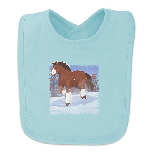 Clydesdale Horse Running in Snow Baby Bib - Blue