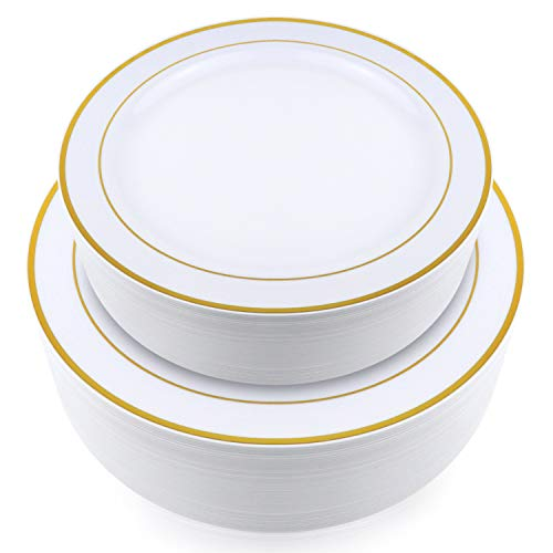 Stately Elegance Designs 200 Piece White and Gold Rimmed Plastic Plate Set  Includes 100 10.25