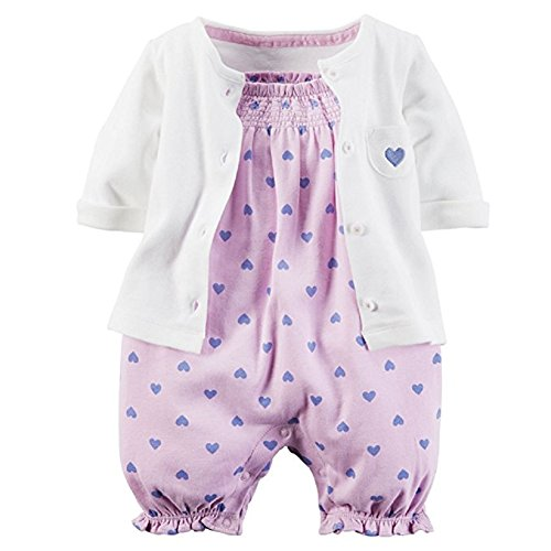 Lilac Baby Girl (Carter's 2 Piece Romper Set, Lilac Heart, 12 Months)