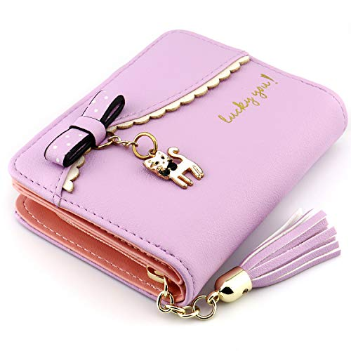 Kinsoland Wallets for Girls Faux Leather Card Holder Organizer Women Small Cute Coin Purse Purple