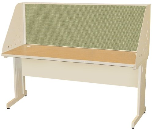 Pronto Pronto School Training Table with Carrel and Modesty Panel Back, 60W x 24D - Putty Finish and Peridot Fabric by Marvel Furniture