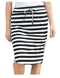 FLCH+YIGE Falda de Rayas elástica para Mujer, Verano, cordón Ajustable, Falda Mediana de línea A