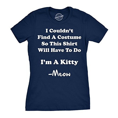 Women's I'm A Kitty Meow Halloween Costume T Shirt Funny Cat Shirt for Women (Blue) -