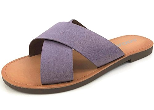 Soda Women's Basic Casual Slip-On Sandals Lilac (Womens Criss Cross Sandals)