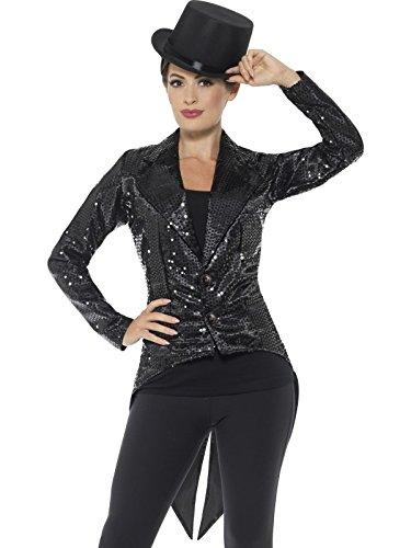 Smiffys Women's Sequin Tailcoat Jacket, Ladies, Black, Large