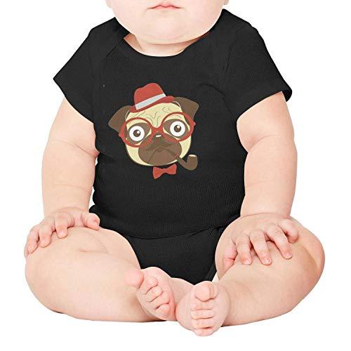 Price comparison product image PPLOPO Pug Pipe Smoking Baby Cute Short Sleeve Newborn Baby Onesies
